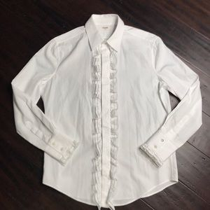 Celine White Button Down Embroidered Shirt